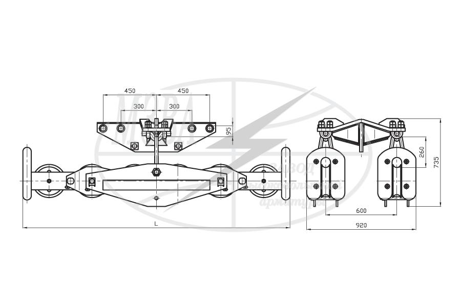 Подвесы многороликовые поддерживающие типа 2П6Р