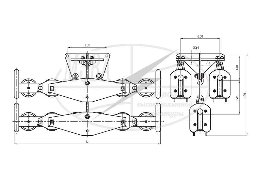 Подвесы многороликовые поддерживающие типа 3П6Р