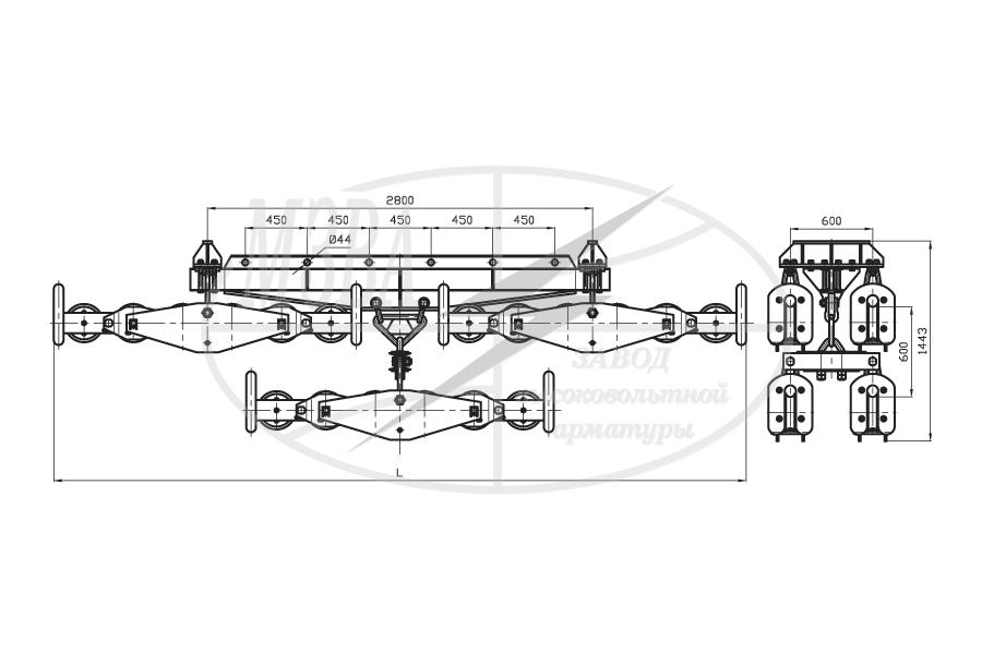 Подвесы многороликовые поддерживающие типа 4П6Р