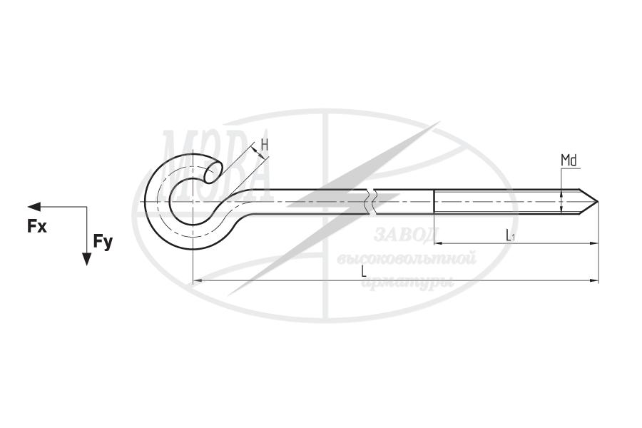 Крюки с резьбой типа KD