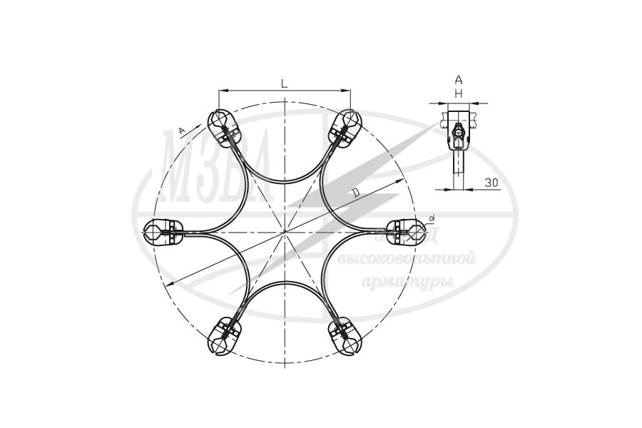 Распорки глухие лучевые типа 5РГ, 6РГ